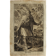 Rare 1701 Copper Engraving of the Prophet Jeremiah of the Old Testament by Engelhardt Nunzer