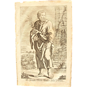 Rare 1701 Copper Engraving of Joseph - father of Jesus Christ -  by Johann Alexander Boener