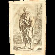 Rare 1701 Copper Engraving of Joseph - father of Jesus Christ -  by Johann Alexander Boener