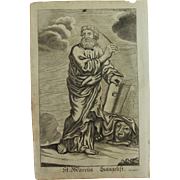 Rare 1701 Copper Engraving of St. Mark the Evangelist by Johann Alexander Boener