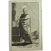 Rare 1701 Copper Engraving of Saint Peter the Apostle by Engelhardt Nunzer