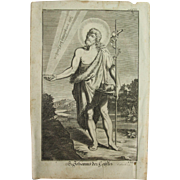 Rare 1701 Copper Engraving of Saint John the Baptist by Engelhardt Nunzer