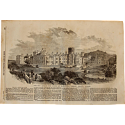 1854 Original Depiction of The Royal Earlswood Asylum for Idiots - Antique Steel Engraving
