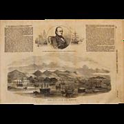 1854 Original Birdseye View of Hong Kong - Antique Steel Engraving