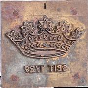 """19th Century Bronze Embosser / Stamp for Beermats / Coaster from """"Kronenbrauerei Dortmund"""""""