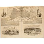 1854 Original Map of the Black Sea & Views of Constantinople and more - Antique Steel Engraving