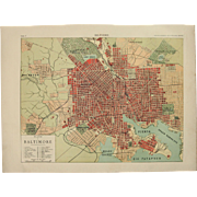 Art Nouveau Map of Baltimore including Train lines & Photos of Sights - 1900's Polychrome Lithograph