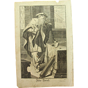 Rare 1701 Copper Engraving of Ben Sira of the Old Testament by Engelhardt Nunzer