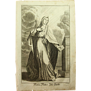 Rare 1701 Copper Engraving of Maria - Mother of Jesus Christ by Engelhardt Nunzer