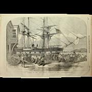 1854 Original Depiction of the Royal Horse Artillery landing in the Bosphorus - Antique Steel Engraving