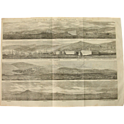 1854 Original 4 Birdseye Views of Sebastopol and the Adjacent Coast - Antique Steel Engraving