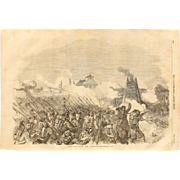 1854 Original Depiction of the Battle of Citate - Antique Steel Engraving