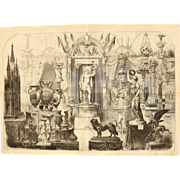 1856 Original Print of the German stand at the Exposition Universelle 1855 in Paris - Antique Steel Engraving of Worlds Fair