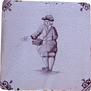 18th Century Delft Tile - Military Drummer - Dutch Purple & White Tile