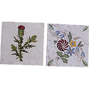 "Art Nouveau Set of 2 1910's Tiles ""Flowers & Thistle"" by Wessel's Wandplatten-Fabrik Bonn"