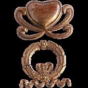 19th Century Set of 2 Bronze / Brass Hardware with Heart & Wreath