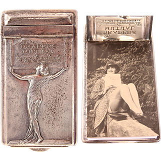Art Nouveau Silver plated Note Pad with Nymph - Silverplate Clipboard with Notebook 1910's