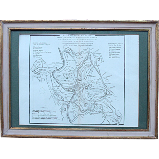 18th Century Map of Ancient Rome in 19th Century Gilt Frame - Roma