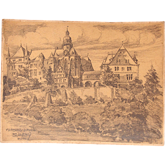 1910's Original Art Nouveau Charcoal Drawing of the Castle in Marburg by Franz Brantzky