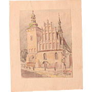 1910's Original Art Nouveau Pastel Drawing of City scene in Lublin by Franz Brantzky