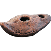 Ancient Coptic Terracotta Oil Lamp (circa 600 A.D. / Egypt)