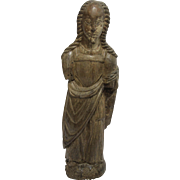 14th Century Sculpture of a Saint - Gothic Wood Carved Polychrome Figure from Spain