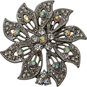 Vintage Festive Flower Brooch with White Rhinestones - Retro Costume Jewelry
