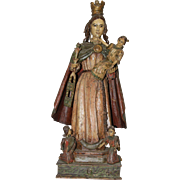 18th Century Sculpture of The Crowned Virgin - Wood Carved Polychrome Baroque Figure of Madonna and Jesus Child from Spain