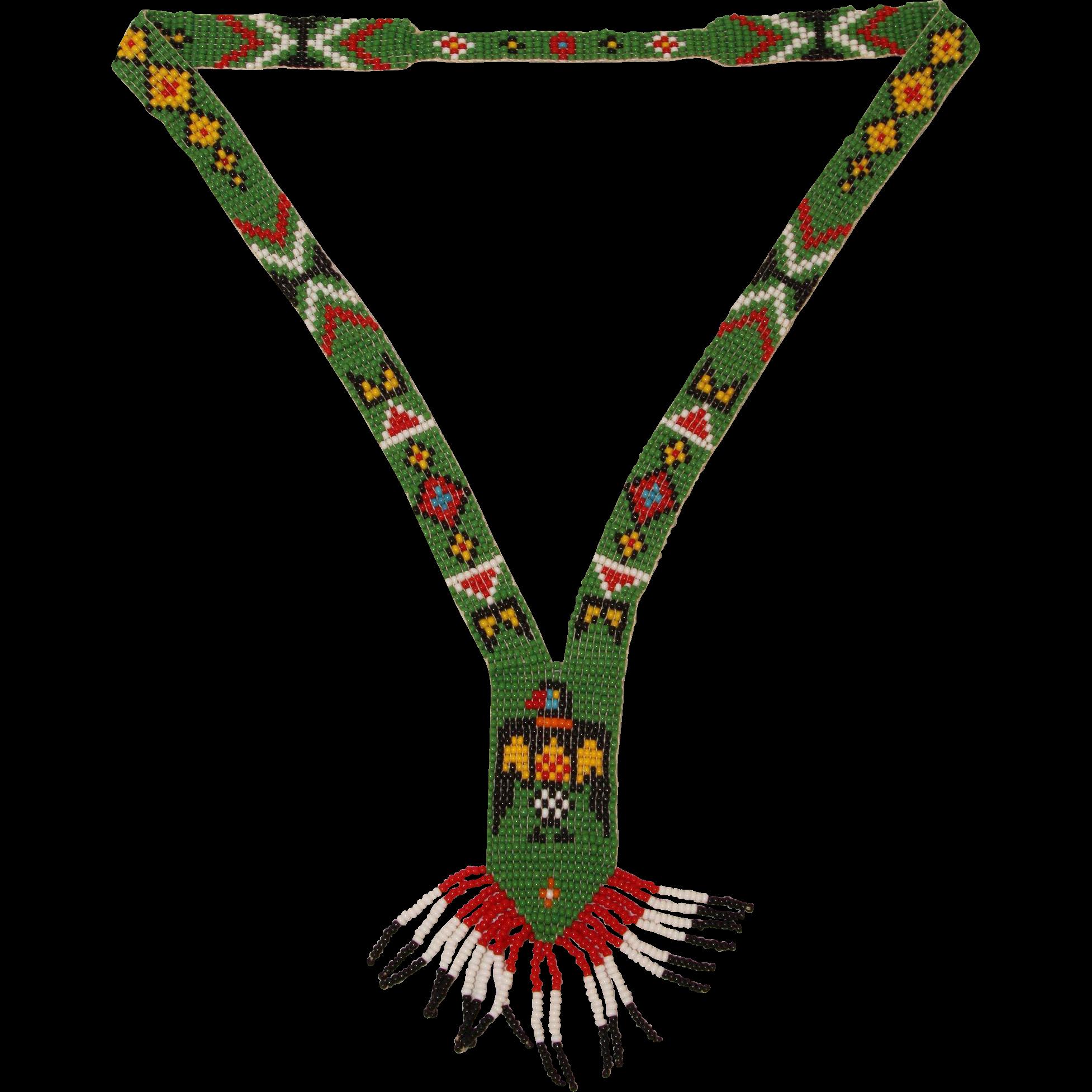 Handmade Native American Bead Necklace - Beadwork Jewelry ...