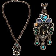 Vintage Mexican 925 Sterling Silver & Gemstone Necklace in Inca Design