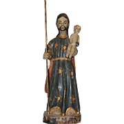 18th Century Sculpture of St. Joseph with Jesus Child - Wood Carved Polychrome Baroque Figure from Spain