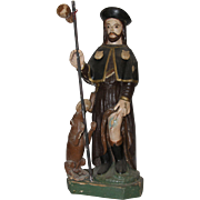 19th Century Sculpture of Saint Roch / Rock - Wood Carved Polychrome Folk Art Figure of St Rocco from Spain