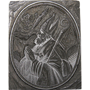 19th Century Printing Block / Cliché of a Bishop and Angel from Bavaria - Wood