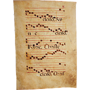 SALE 15th Century Illuminated Gregorian Chant Manuscript Page / Renaissance Sheet Music