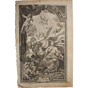 Rare 18th Century Copper Engraving of an Angel explaining the New Testament to a Woman with many Cherubs