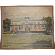 1920's Original Pencil & Pastel Drawing of Benrath Palace in Düsseldorf Germany by Franz Brantzky