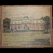 1920's Original Pencil & Pastel Drawing of Benrath Palace in Düsseldorf Germany by Franz Brantzky