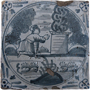 "17th Century Delft Tile - ""Burnt Offerings"" Bible Scene of Moses Leviticus - Religious Dutch Blue & White Tile"