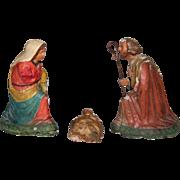 Original Antique South Italian & Neapolitan Creche Figures - Jesus Christ / Mary / Joseph