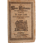 Rare 17th Century Copper Engraving - Title Page of the New Testament - Martin Luther