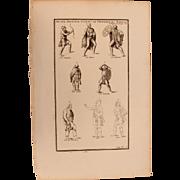 18th Century Copper Engraving of Ancient Soldiers & Archers of different Nations from L'antiquité expliquée et représentée en figures by Bernard de Montfaucon