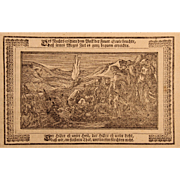 18th Century Copper Engravings of Moses divides the sea / Pillar of Fire / Miriam plays the drums