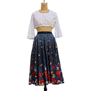 Vintage 60s Floral Print High Waist Midi Skirt