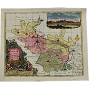 Decorative 17th Century Map of Merseburg including Leipzig & Halle (Pieter Schenk)