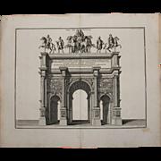"""18th Century Copper Engraving """"Arch of Septimius Severus"""" from L'antiquité expliquée et représentée en figures by Bernard de Montfaucon - Red Tag Sale Item"""