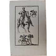 18th Century Copper Engraving of Ancient Roman Cavalryman from L'antiquité expliquée et représentée en figures by Bernard de Montfaucon