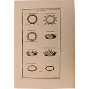 18th Century Copper Engraving of Ancient Crowns from L'antiquité expliquée et représentée en figures by Bernard de Montfaucon