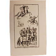 18th Century Copper Engraving of Ancient Trojan Cavalryman and Horses from L'antiquité ...