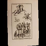 18th Century Copper Engraving of Ancient Trojan Cavalryman and Horses from L'antiquité expliquée et représentée en figures by Bernard de Montfaucon