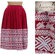 Vintage 1950s Ethnic Embroidered Full Pleated High Waist Skirt